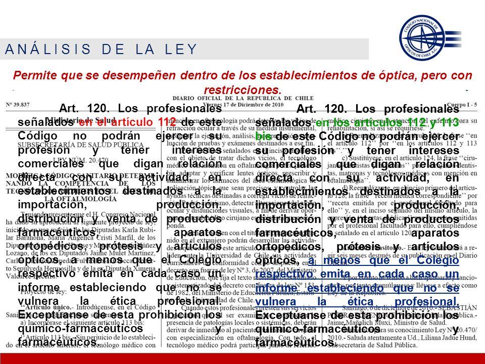 A N Á L I S I S D E L A L E Y Permite que se desempeñen dentro de los establecimientos de óptica, pero con restricciones. Art. 120. Los profesionales