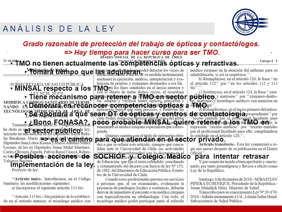 A N Á L I S I S D E L A L E Y Grado razonable de protección del trabajo de ópticos y contactólogos.