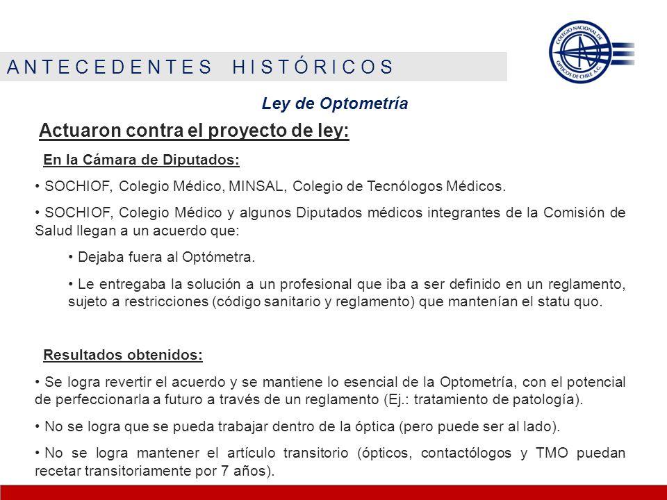 A N T E C E D E N T E S H I S T Ó R I C O S Ley de Optometría Actuaron contra el proyecto de ley: En la Cámara de Diputados: SOCHIOF, Colegio Médico, MINSAL, Colegio de Tecnólogos Médicos.