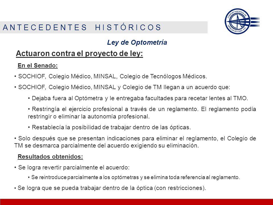 A N T E C E D E N T E S H I S T Ó R I C O S Ley de Optometría Permite 1 profesional autónomo que se dedique a la salud visual.