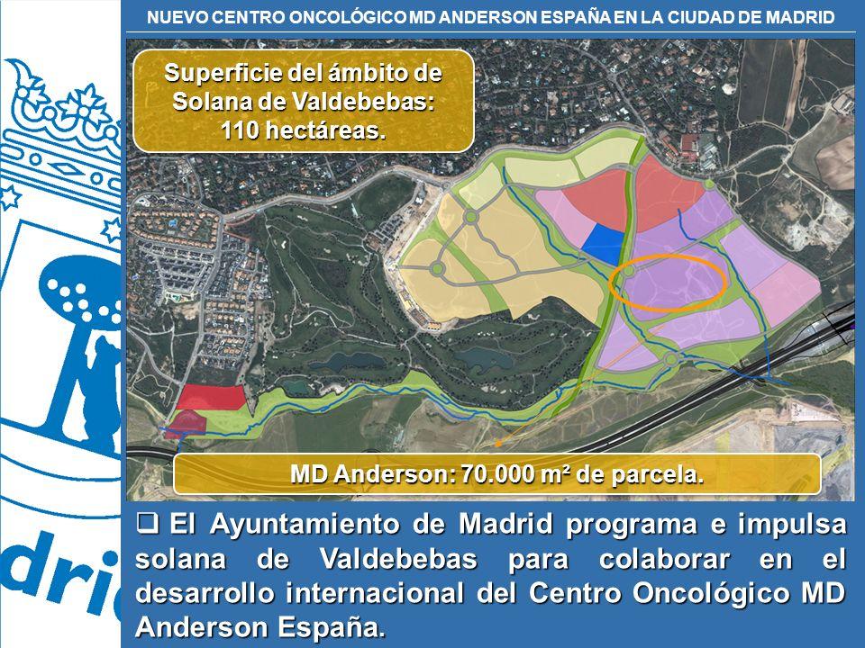 NUEVO CENTRO ONCOLÓGICO MD ANDERSON ESPAÑA EN LA CIUDAD DE MADRID Superficie del ámbito de Solana de Valdebebas: 110 hectáreas. Superficie del ámbito