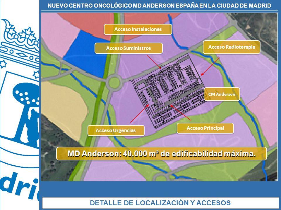 NUEVO CENTRO ONCOLÓGICO MD ANDERSON ESPAÑA EN LA CIUDAD DE MADRID DETALLE DE LOCALIZACIÓN Y ACCESOS CM Anderson Acceso Instalaciones Acceso Principal
