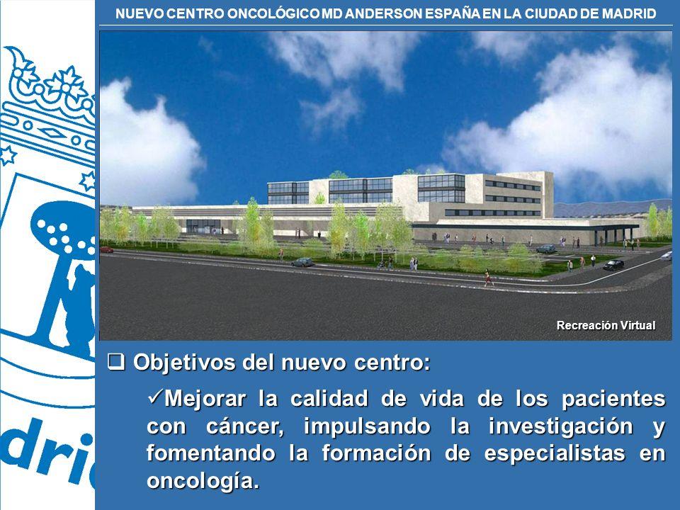 NUEVO CENTRO ONCOLÓGICO MD ANDERSON ESPAÑA EN LA CIUDAD DE MADRID Objetivos del nuevo centro: Objetivos del nuevo centro: Mejorar la calidad de vida d