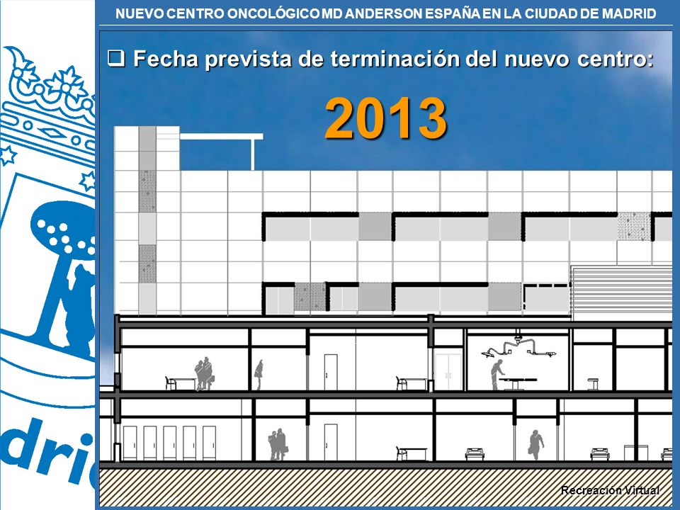 NUEVO CENTRO ONCOLÓGICO MD ANDERSON ESPAÑA EN LA CIUDAD DE MADRID Fecha prevista de terminación del nuevo centro: Fecha prevista de terminación del nu