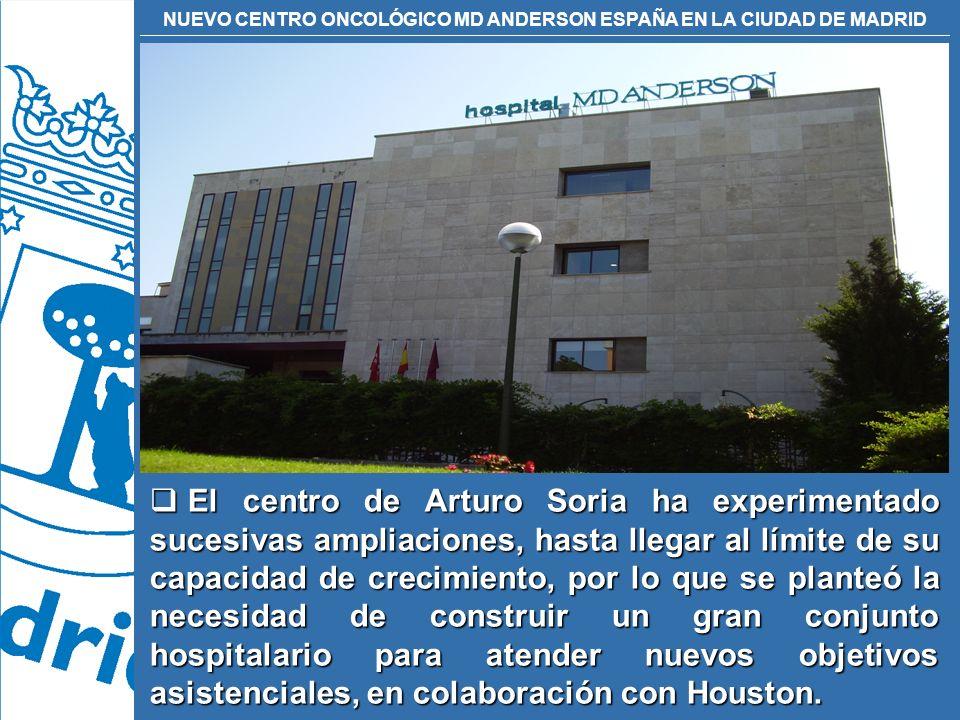 NUEVO CENTRO ONCOLÓGICO MD ANDERSON ESPAÑA EN LA CIUDAD DE MADRID El centro de Arturo Soria ha experimentado sucesivas ampliaciones, hasta llegar al l