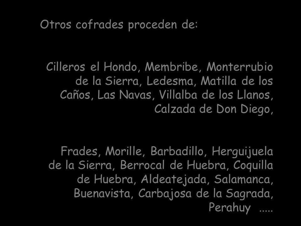 Aparecen también numerosos cofrades de los pueblos de Veguillas, Vecinos, San Pedro de Rozados, Naharros de Matalayegua y Pedrosillo de los Aires.