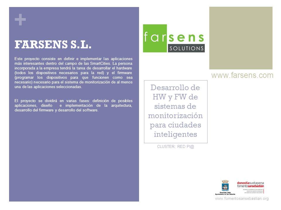 + Desarrollo de HW y FW de sistemas de monitorización para ciudades inteligentes www.farsens.com www.fomentosansebastian.org CLUSTER: RED PI@ Este pro