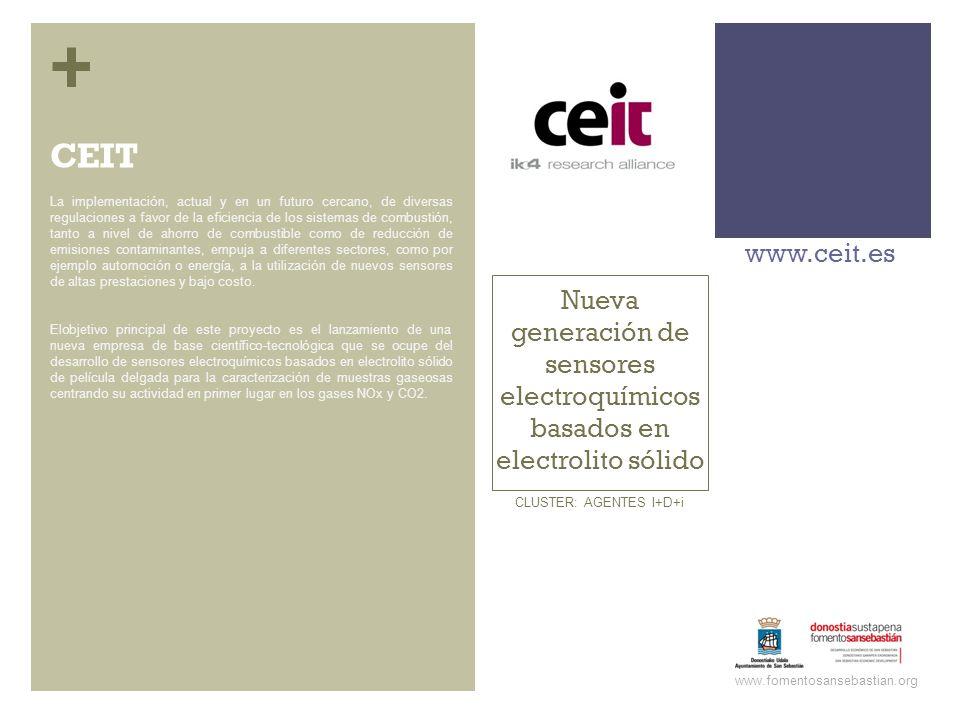 + Nueva generación de sensores electroquímicos basados en electrolito sólido www.ceit.es www.fomentosansebastian.org CLUSTER: AGENTES I+D+i La impleme