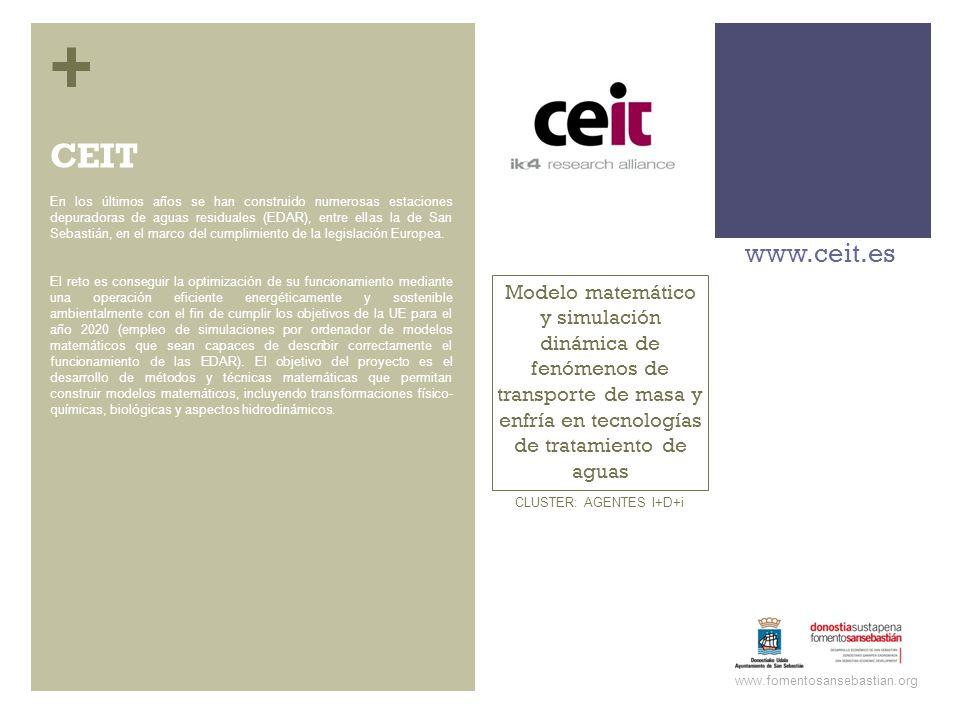 + Modelo matemático y simulación dinámica de fenómenos de transporte de masa y enfría en tecnologías de tratamiento de aguas www.ceit.es www.fomentosa