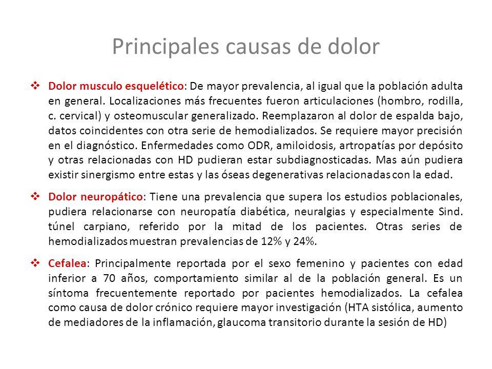 Dolor musculo esquelético: De mayor prevalencia, al igual que la población adulta en general. Localizaciones más frecuentes fueron articulaciones (hom