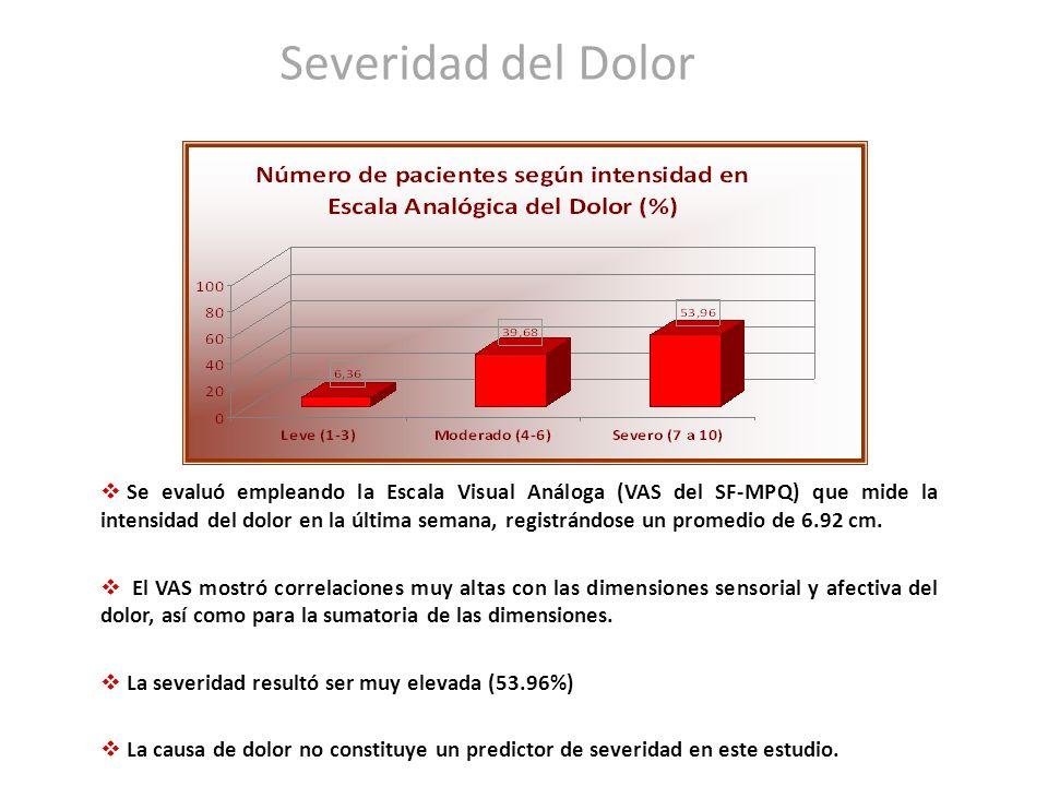 Severidad del Dolor Se evaluó empleando la Escala Visual Análoga (VAS del SF-MPQ) que mide la intensidad del dolor en la última semana, registrándose