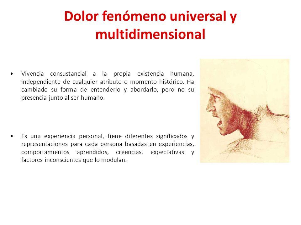 Dolor fenómeno universal y multidimensional Vivencia consustancial a la propia existencia humana, independiente de cualquier atributo o momento histór