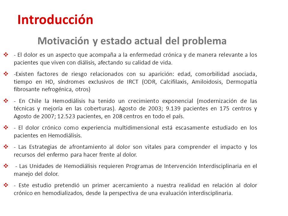 Introducción Motivación y estado actual del problema - El dolor es un aspecto que acompaña a la enfermedad crónica y de manera relevante a los pacient