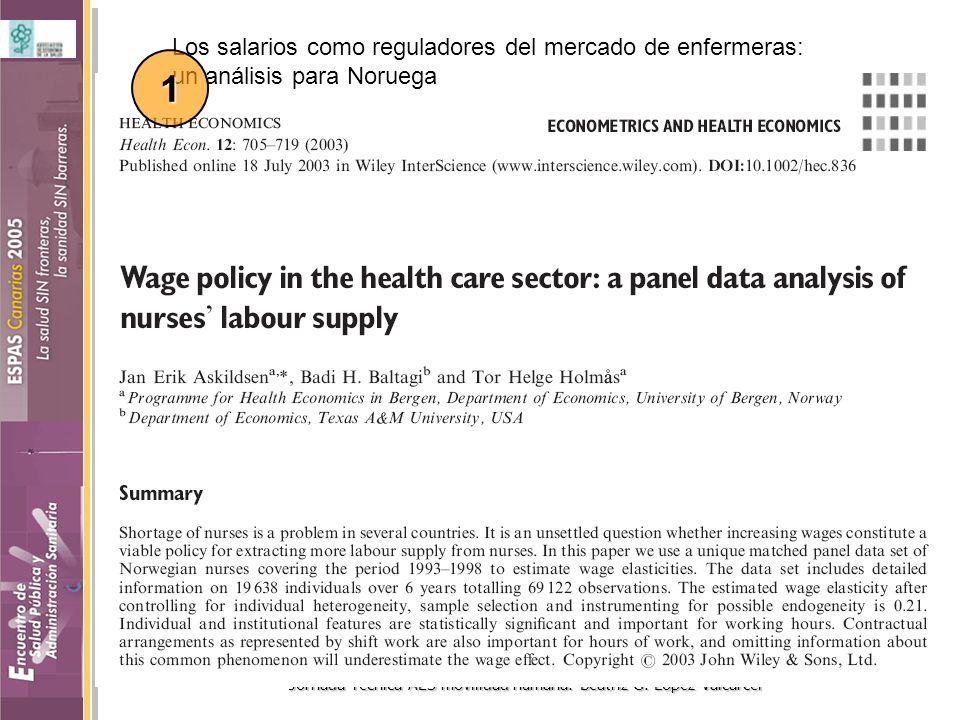 Jornada Técnica AES movilidad humana. Beatriz G. López-Valcárcel Los salarios como reguladores del mercado de enfermeras: un análisis para Noruega 1
