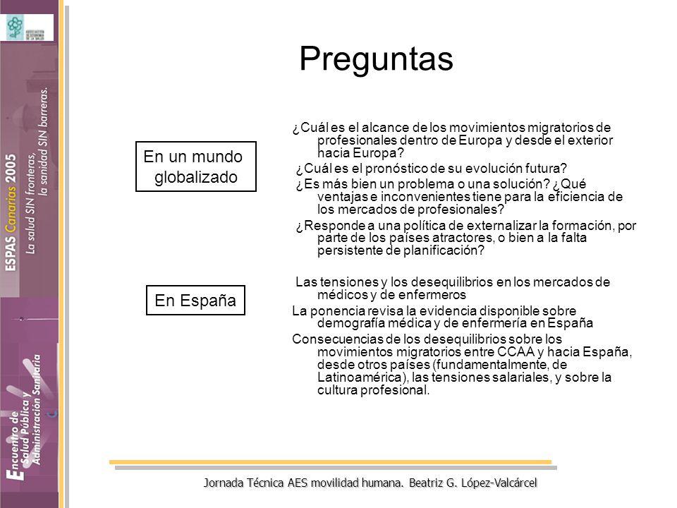 Jornada Técnica AES movilidad humana. Beatriz G. López-Valcárcel Preguntas ¿Cuál es el alcance de los movimientos migratorios de profesionales dentro