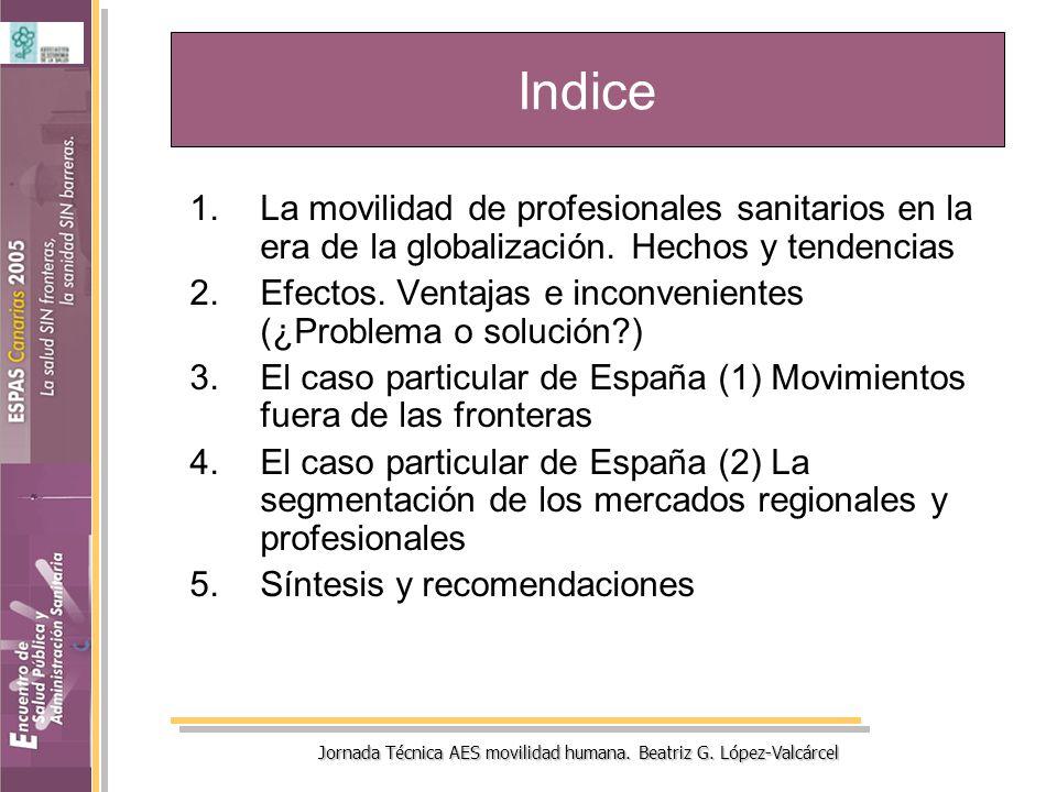Jornada Técnica AES movilidad humana. Beatriz G. López-Valcárcel Indice 1.La movilidad de profesionales sanitarios en la era de la globalización. Hech