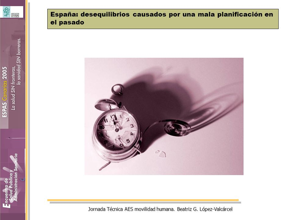 Jornada Técnica AES movilidad humana. Beatriz G. López-Valcárcel España: desequilibrios causados por una mala planificación en el pasado