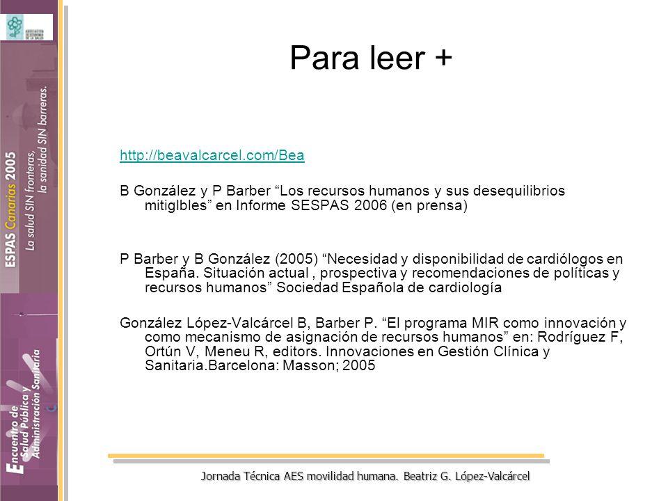 Jornada Técnica AES movilidad humana. Beatriz G. López-Valcárcel Para leer + http://beavalcarcel.com/Bea B González y P Barber Los recursos humanos y