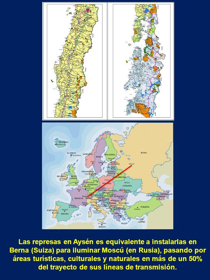 Las represas en Aysén es equivalente a instalarlas en Berna (Suiza) para iluminar Moscú (en Rusia), pasando por áreas turísticas, culturales y naturales en más de un 50% del trayecto de sus líneas de transmisión.