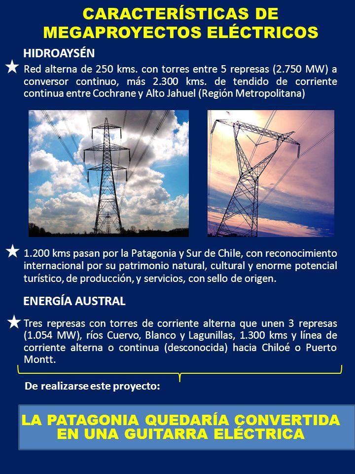 CARACTERÍSTICAS DE MEGAPROYECTOS ELÉCTRICOS Red alterna de 250 kms.