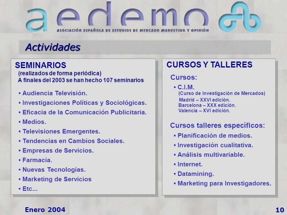 10 Enero 2004 SEMINARIOS (realizados de forma periódica) A finales del 2003 se han hecho 107 seminarios Audiencia Televisión.