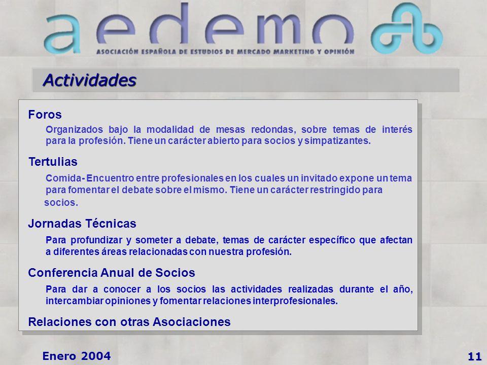11 Enero 2004 Actividades Foros Organizados bajo la modalidad de mesas redondas, sobre temas de interés para la profesión.