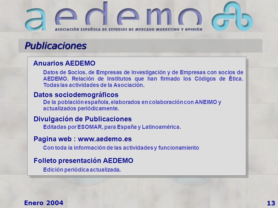 13 Enero 2004 Publicaciones Anuarios AEDEMO Datos de Socios, de Empresas de Investigación y de Empresas con socios de AEDEMO.