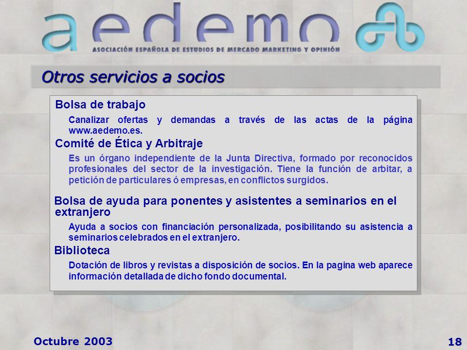 Octubre 2003 Otros servicios a socios 18 Bolsa de trabajo Canalizar ofertas y demandas a través de las actas de la página www.aedemo.es.