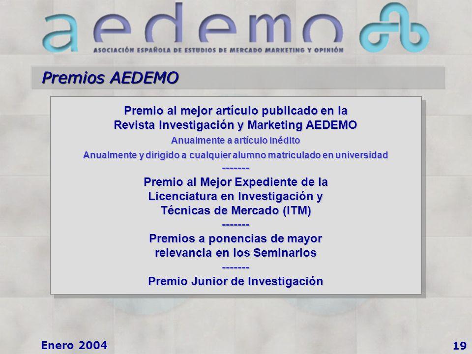Enero 2004 Premios AEDEMO 19 Premio al mejor artículo publicado en la Revista Investigación y Marketing AEDEMO Anualmente a artículo inédito Anualmente y dirigido a cualquier alumno matriculado en universidad ------- Premio al Mejor Expediente de la Licenciatura en Investigación y Técnicas de Mercado (ITM) ------- Premios a ponencias de mayor relevancia en los Seminarios ------- Premio Junior de Investigación