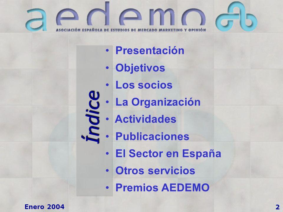 2 Índice Presentación Objetivos Los socios La Organización Actividades Publicaciones El Sector en España Otros servicios Premios AEDEMO