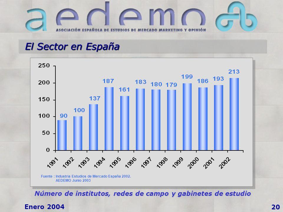 Enero 2004 El Sector en España 20 Número de institutos, redes de campo y gabinetes de estudio Fuente : Industria Estudios de Mercado España 2002.