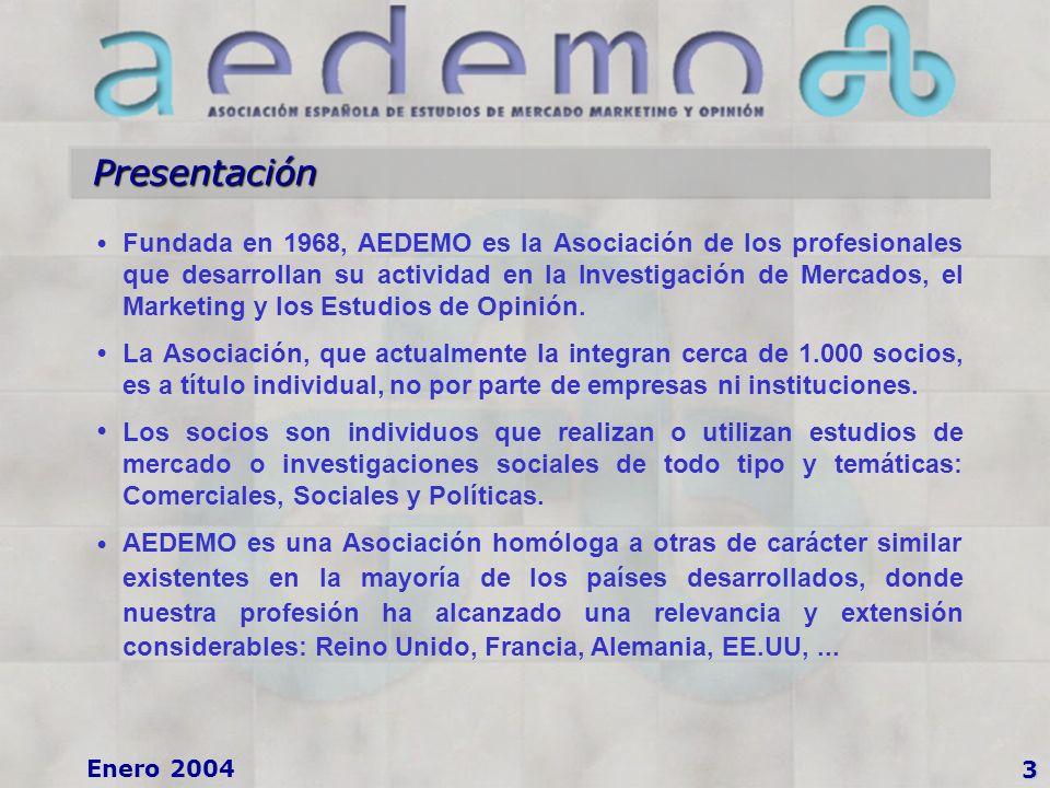 3 Enero 2004 Presentación Fundada en 1968, AEDEMO es la Asociación de los profesionales que desarrollan su actividad en la Investigación de Mercados, el Marketing y los Estudios de Opinión.