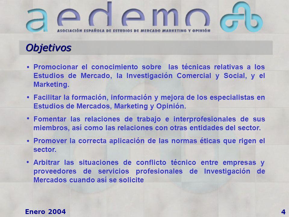 4 Enero 2004 Objetivos Promocionar el conocimiento sobre las técnicas relativas a los Estudios de Mercado, la Investigación Comercial y Social, y el Marketing.