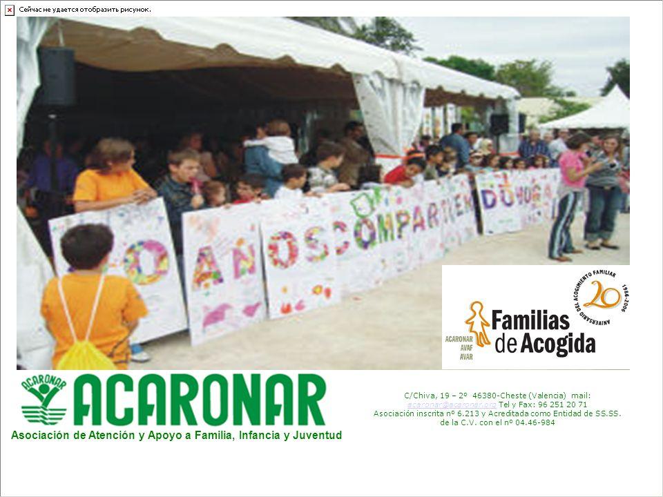 C/Chiva, 19 – 2º 46380-Cheste (Valencia) mail: acaronar@acaronar.org Tel y Fax: 96 251 20 71 acaronar@acaronar.org Asociación inscrita nº 6.213 y Acreditada como Entidad de SS.SS.