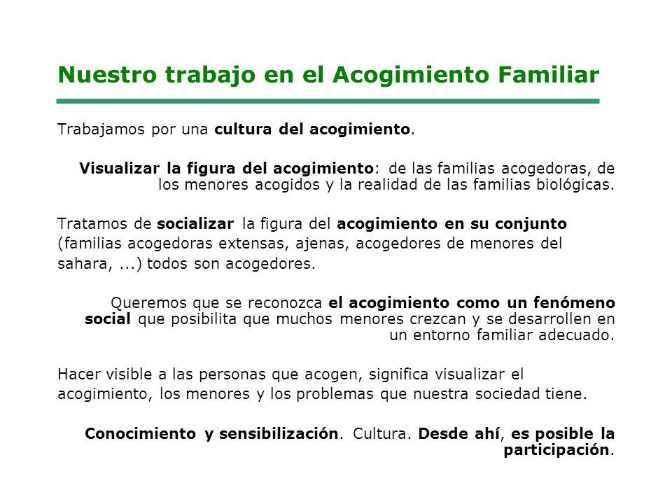 Nuestro trabajo en el Acogimiento Familiar Trabajamos por una cultura del acogimiento.
