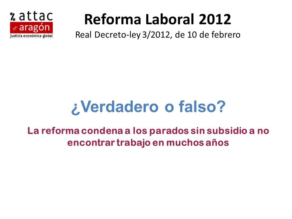 Reforma Laboral 2012 Real Decreto-ley 3/2012, de 10 de febrero ¿Verdadero o falso? La reforma condena a los parados sin subsidio a no encontrar trabaj