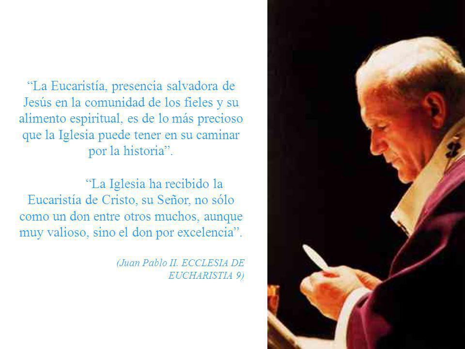 La Eucaristía es fuente y cima de toda la vida cristiana. (Conc. Vaticano II. LG 11). En la Santísima Eucaristía se contiene todo el bien espiritual d