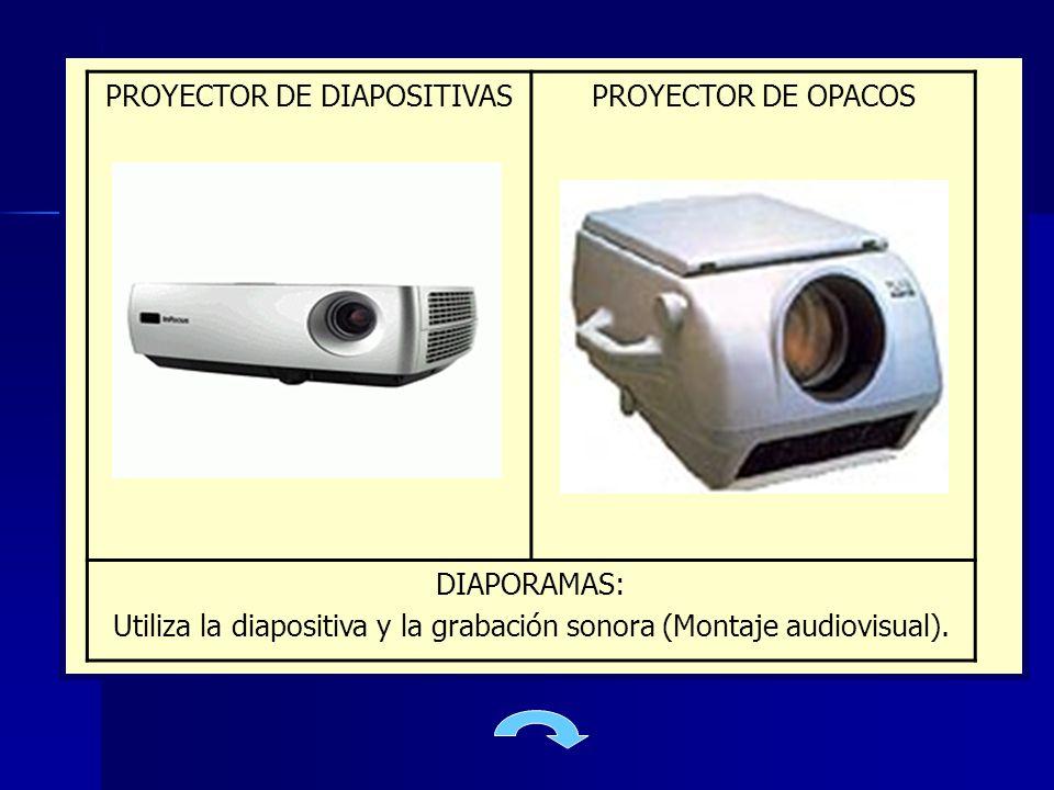 PROYECTOR DE DIAPOSITIVASPROYECTOR DE OPACOS DIAPORAMAS: Utiliza la diapositiva y la grabación sonora (Montaje audiovisual).