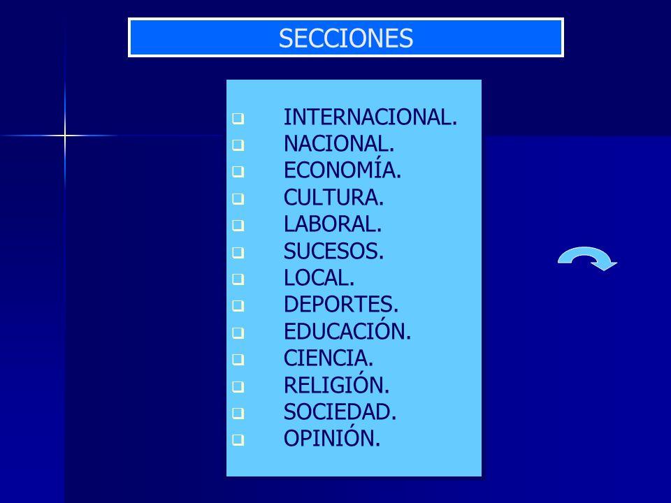 INTERNACIONAL. NACIONAL. ECONOMÍA. CULTURA. LABORAL. SUCESOS. LOCAL. DEPORTES. EDUCACIÓN. CIENCIA. RELIGIÓN. SOCIEDAD. OPINIÓN. SECCIONES