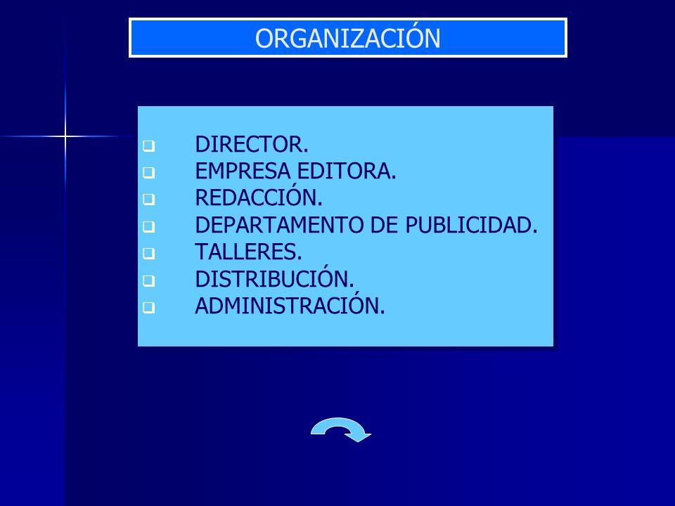 DIRECTOR. EMPRESA EDITORA. REDACCIÓN. DEPARTAMENTO DE PUBLICIDAD. TALLERES. DISTRIBUCIÓN. ADMINISTRACIÓN. ORGANIZACIÓN