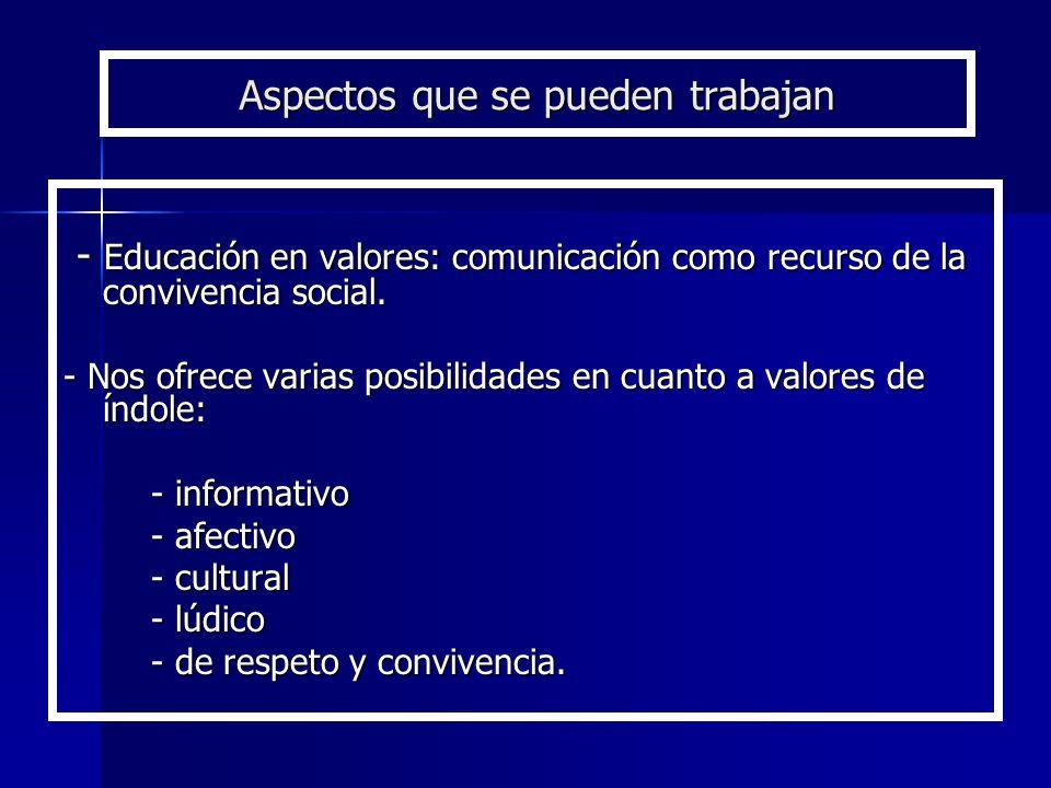 Aspectos que se pueden trabajan - Educación en valores: comunicación como recurso de la convivencia social. - Educación en valores: comunicación como