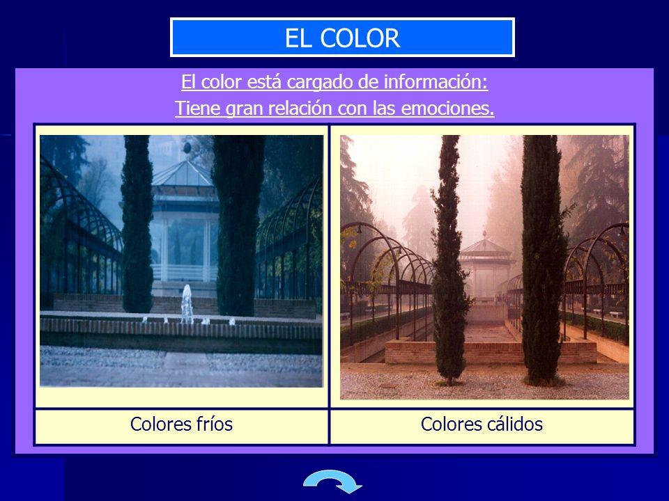 EL COLOR El color está cargado de información: Tiene gran relación con las emociones. Colores fríosColores cálidos