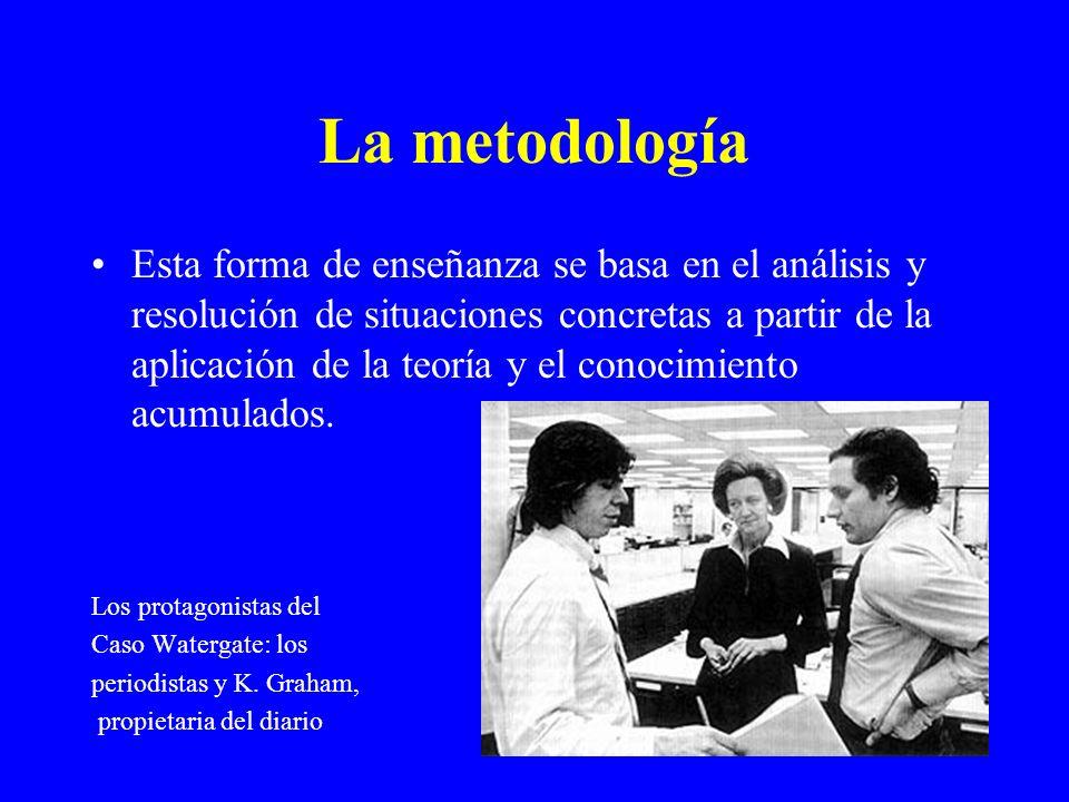 La metodología Esta forma de enseñanza se basa en el análisis y resolución de situaciones concretas a partir de la aplicación de la teoría y el conoci