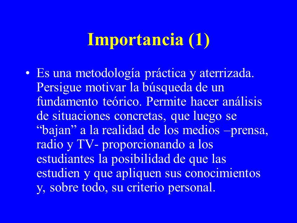 Importancia (1) Es una metodología práctica y aterrizada. Persigue motivar la búsqueda de un fundamento teórico. Permite hacer análisis de situaciones