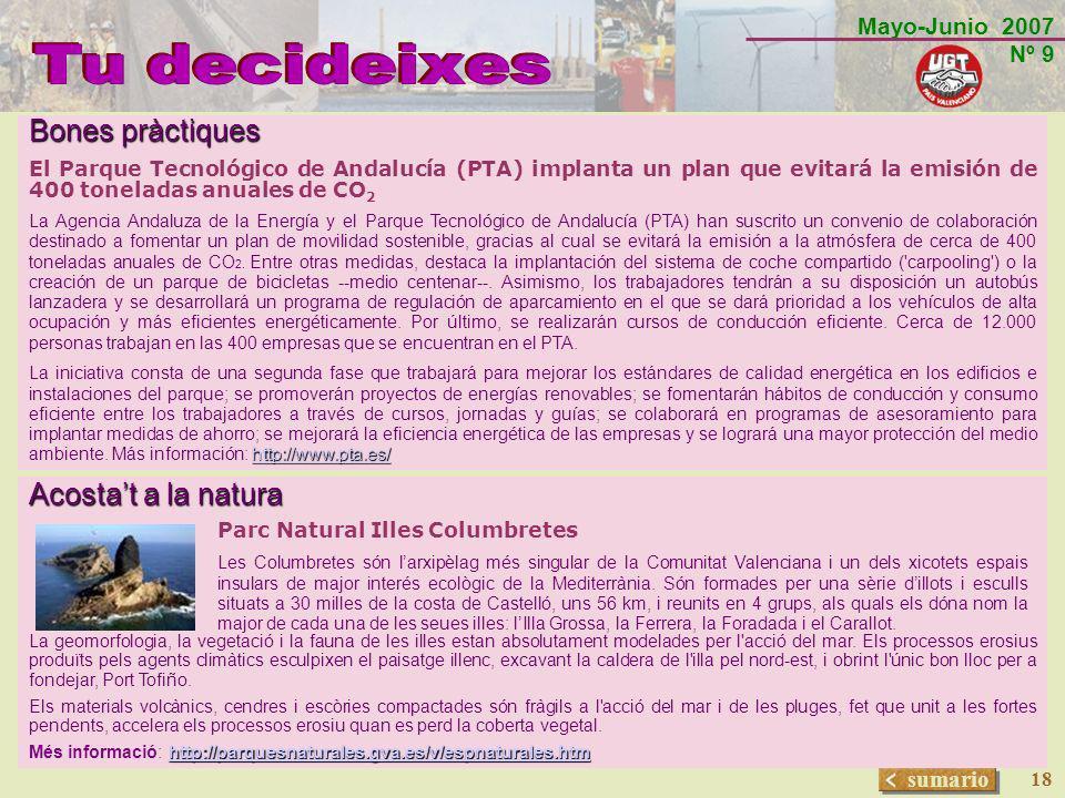 Mayo-Junio 2007 Nº 9 sumario 18 Bones pràctiques El Parque Tecnológico de Andalucía (PTA) implanta un plan que evitará la emisión de 400 toneladas anu