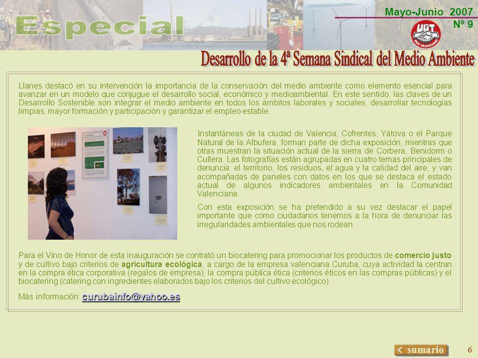 Mayo-Junio 2007 Nº 9 sumario 7 JORNADAS DE DEBATE:EL MEDIO AMBIENTE EN LA EMPRESA ORGANIZADO POR U.C.