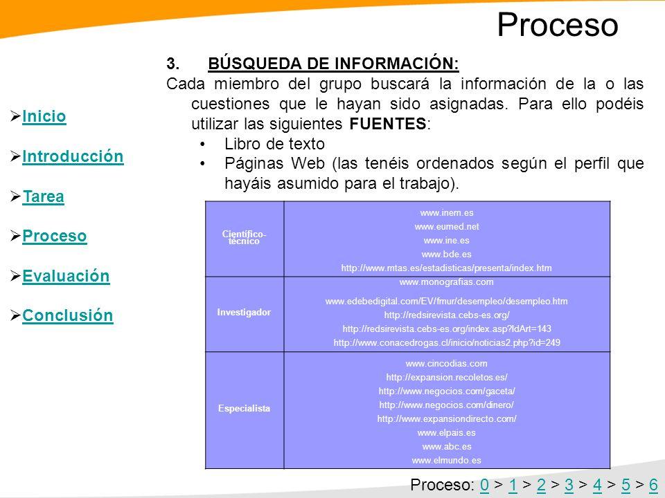 Proceso 2. REPARTO DE TAREAS: - Perfil científico técnico: se encargarán de: Explicar los conceptos de mercado de trabajo, desempleo y paro registrado