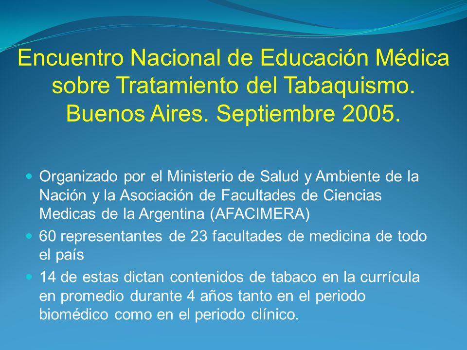 Encuentro Nacional de Educación Médica sobre Tratamiento del Tabaquismo. Buenos Aires. Septiembre 2005. Organizado por el Ministerio de Salud y Ambien
