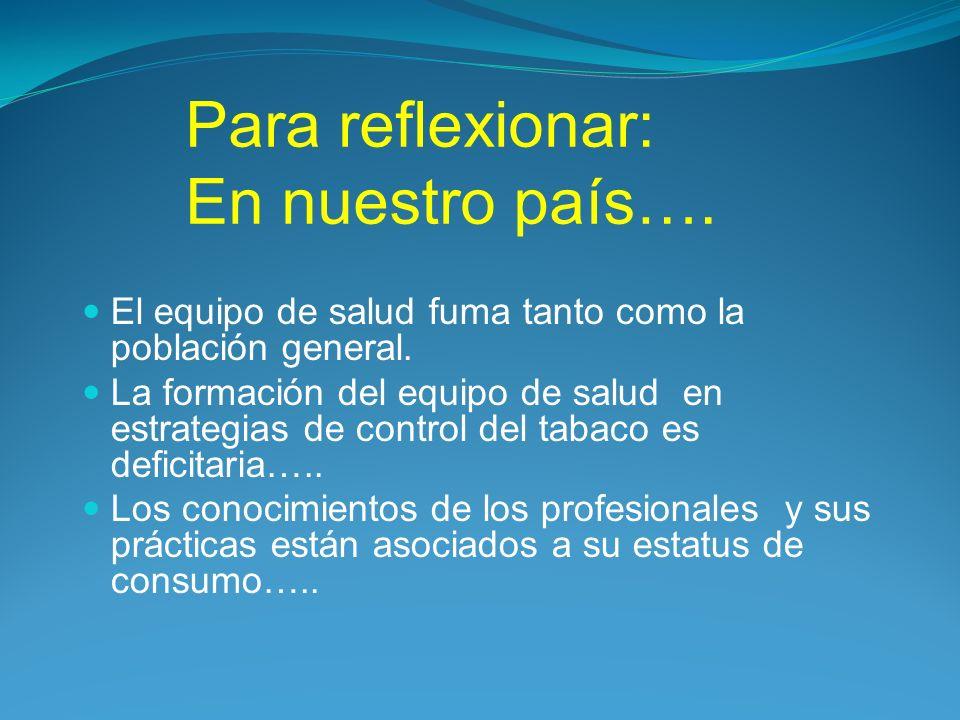 Para reflexionar: En nuestro país….El equipo de salud fuma tanto como la población general.