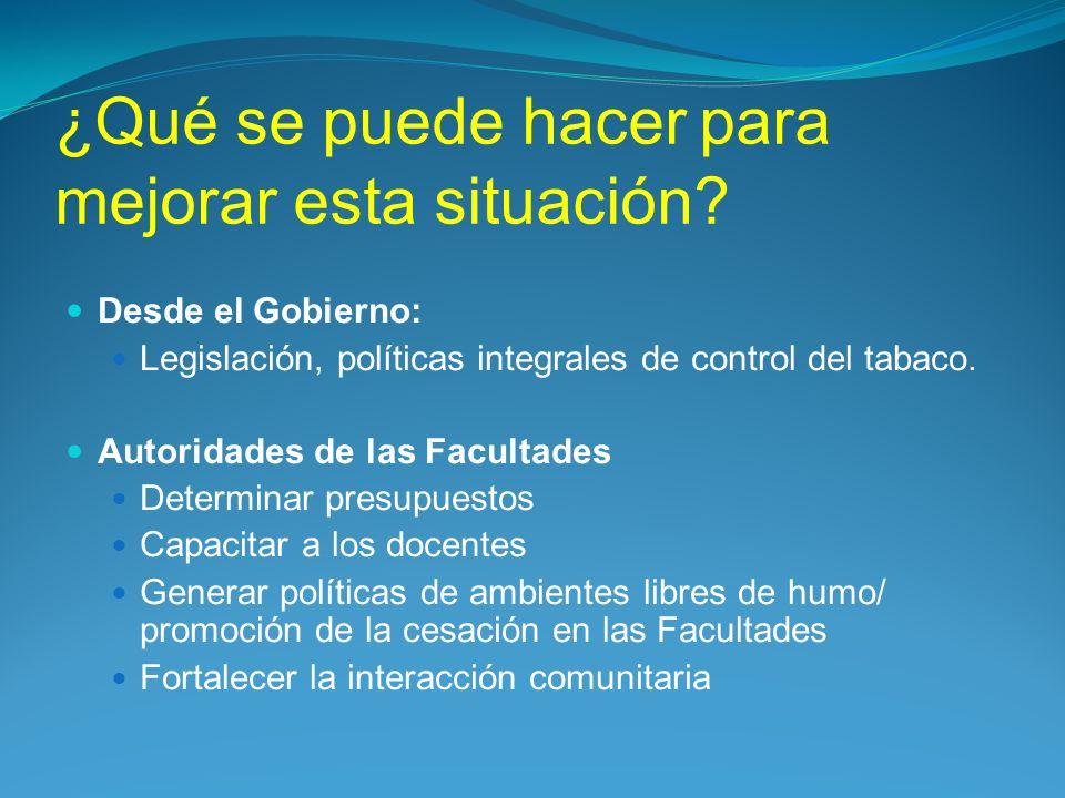 ¿Qué se puede hacer para mejorar esta situación? Desde el Gobierno: Legislación, políticas integrales de control del tabaco. Autoridades de las Facult